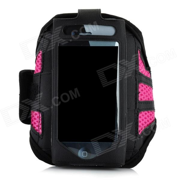 Trendy Sports Outdoor Net Fabric Armband for Iphone 5 - Deep Pink + Black