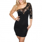2363 Skeleton Style One- Piece One-Shoulder Lace Meryl Dress - Black