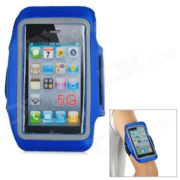 Trendy Sports Outdoor Armband for Iphone 5 - Blue + Black zippered sports armband bag pouch for iphone 4 dark blue