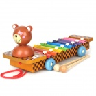 Cute Little Bear Style Hand Knock Glockenspiel Xylophone 8 Notes Musical Instrument Toy