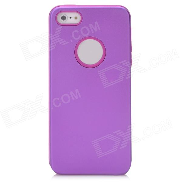 Protective Aluminum + Silicone Back Case for Iphone 5 - Purple stylish bubble pattern protective silicone abs back case front frame case for iphone 4 4s