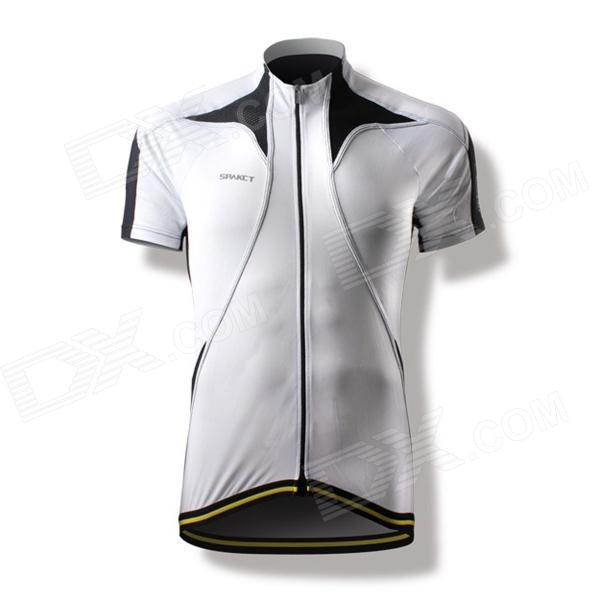 Spakct CY201B Bicycling Cycling Riding Short Sleeve Jersey - Black + White (Size XXL) barrow tzs1 a02 yklzs1 t01 g1 4 white black silver gold acrylic water cooling plug coins can be used to twist the