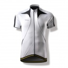 Spakct CY201B Bicycling Cycling Riding Short Sleeve Jersey - Black + White (Size XXL)