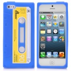 Cassette Style Protective Silicone Back Case for iPhone 5 - Blue