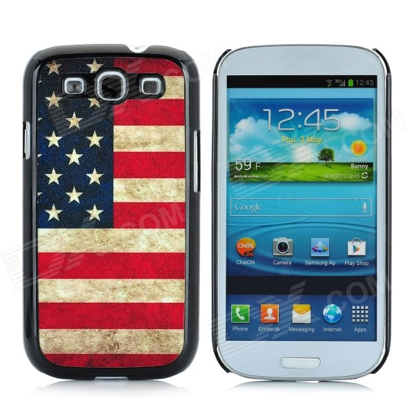 Retro US National Flag Style Protective Plastic Case for Samsung Galaxy S3 i9300 - Blue + Red fashionable protective bumper frame case with bowknot for samsung galaxy s3 i9300 black