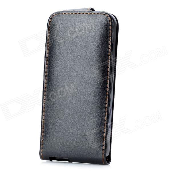 Protective Top Flip Open PU Leather Case for Iphone 5 - Black protective pu leather flip open case for iphone 4 4s black
