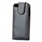 Protective Top Flip Open PU Leather Case for Iphone 5 - Black