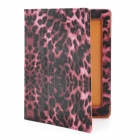 Stylish Leopard Grain Protective PU Leather Case for Ipad 2 / the New Ipad - Black + Pink