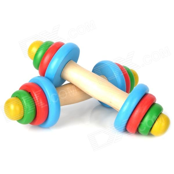 Colorful Wooden Dumbbell Toy Set for Kids (2 PCS)