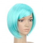 H4590 BL010 Fashion Cosplay Short Straight Remy Hair Wig - Cyan