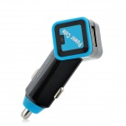 Car Cigarette Powered Dual USB Adapter / Charger - Black + Blue
