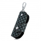CP003 Universal Genuine Leather Protective Pouch Keychain for Car Smart Key - Grey + Black