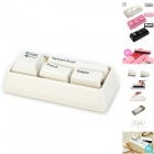 Creative Keyboard Style Stationery Set w/ Cleaning Brush + Punch + Stapler + Clip Dispenser - White