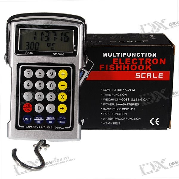 5-in-1 25KG LCD Hanging Digital Hook Scale + Pricing Calculator + Tape Measure + Clock + ThermometerDigital Scales<br>Form  ColorBlueTypePortable ScaleUnitg,kg,Catty,ct,ozDivision10gPowered ByAA Battery,AAA BatteryPacking List<br>