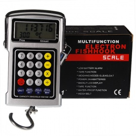 5-in-1 25KG LCD Hanging Digital Hook Scale + Pricing Calculator + Tape Measure + Clock + Thermometer