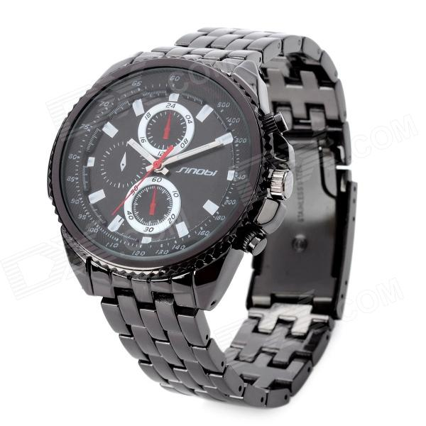 Sinobi 9421 Fashion Tungsten Steel Band Analog Quartz Wrist Watch - Black (1 x LR626)