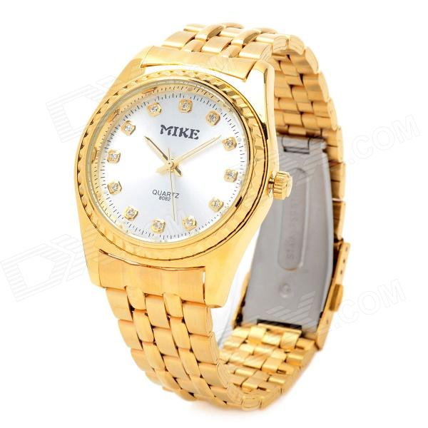 Mike 8082 Fashion Stainless Steel Band Analog Quartz Wrist Watch - Golden (1 x LR626)