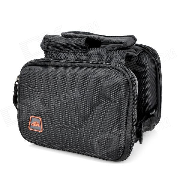 Outdoor Bike Bicycle Top Tube Double Bag - Black boi 12850 outdoor cycling polyester bike top tube double bag black yellow