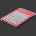 "Solar Powered 1.5"" LCD 8-Digit Calculator - Red + Transparent White"