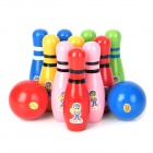 XM-8019 Wooden Cartoon Bowling Game Toy for Kids (2 Bowling Balls + 10 Bowling Pins)