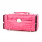 Crocodile Pattern Protective PU Leather Jewelry Storage Box - Deep Pink
