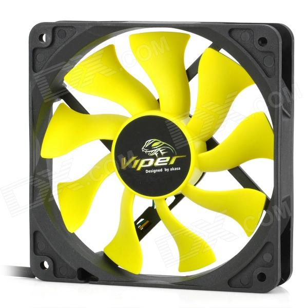 Akasa AK-FN059 Viper 120mm 4-Pin PWM 9-Blade Cooling Heatsink Fan for Computer - Yellow + Black aerocool 15 blade 1 56w mute model computer cpu cooling fan black 12 x 12cm 7v