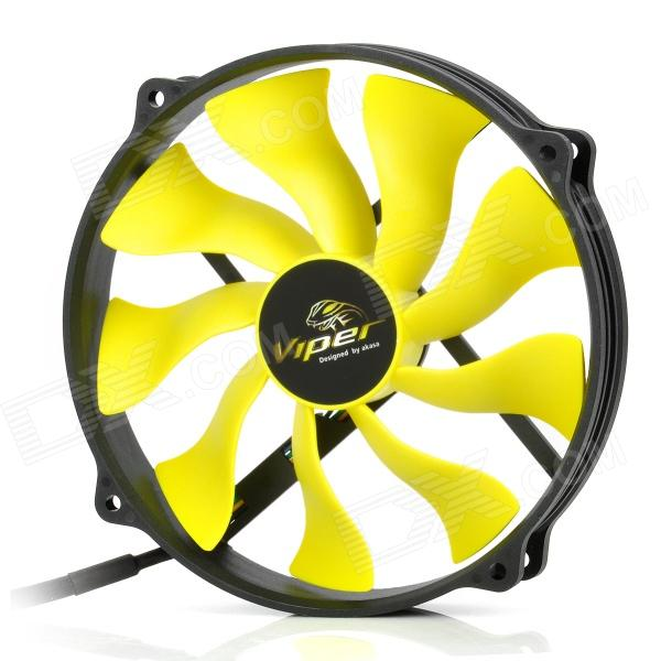Akasa AK-FN073 Viper 140mm 4-Pin PWM 9-Blade Cooling Heatsink Fan for Computer - Yellow + Black aerocool 15 blade 1 56w mute model computer cpu cooling fan black 12 x 12cm 7v
