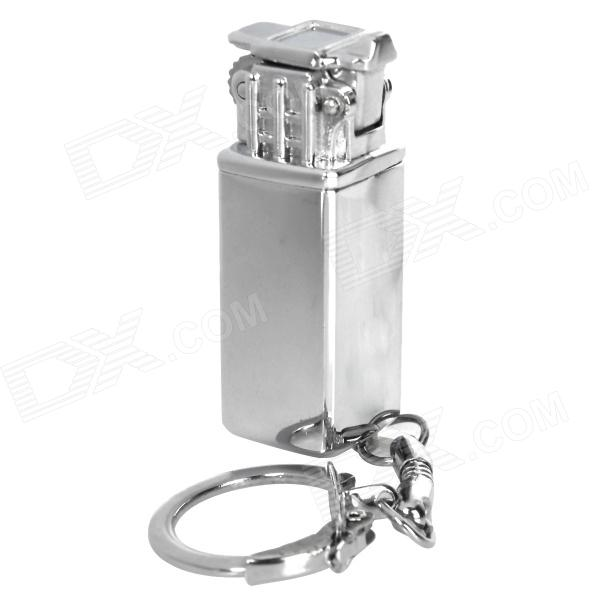 Mini Aluminum Alloy Refillable Butane Flint Lighter w/ Keychain - Silver horizontal stripe pattern butane gas lighter w keychain silver yellow