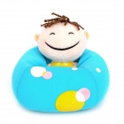 Cute Boy Figure Doll Design Foam Particles Filling Cell Phone Holder - Blue