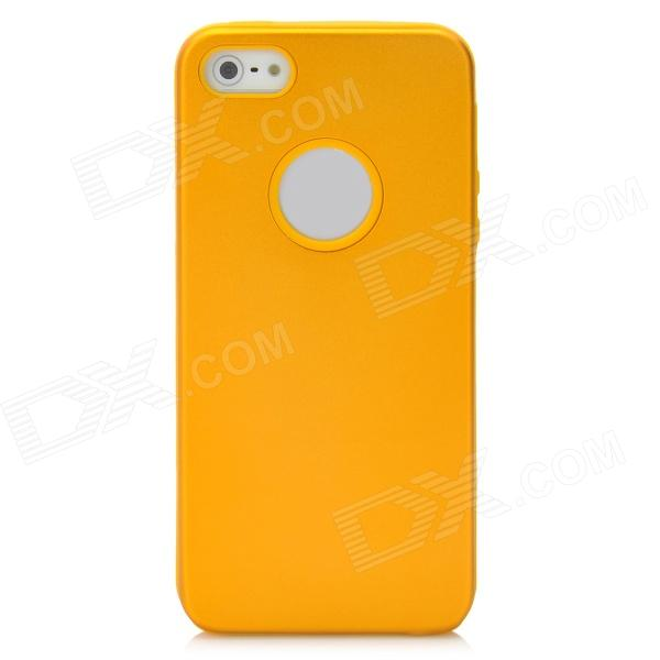 Protective Silicone Back Case w/ Aluminum Cover for Iphone 5 - Golden + Yellow dulisimai protective aluminum silicone back case cover for iphone 6 black silvery white