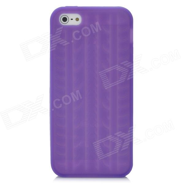Tire Tread Pattern Protective Silicone Back Case for Iphone 5 - Purple