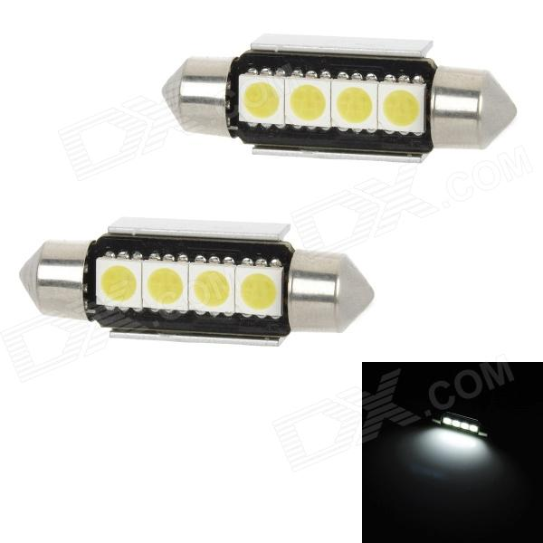 CANBUS Festoon 39mm 1.8W 60lm 4-SMD 5050 LED White Light Car Dome Lamp w/ Heat Sink (12V / 2PCS) 2014 new 2pcs 42mm festoon c10w plasma cob smd led canbus sv8 5 dome map trunk lights bulbs free shipping