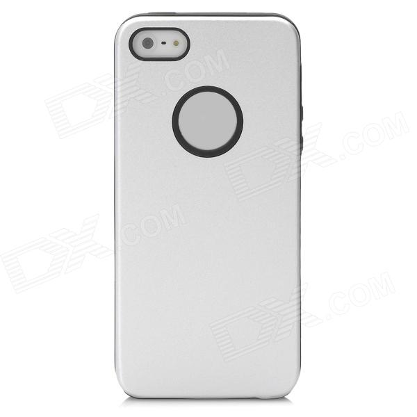 Protective Silicone Back Case w/ Aluminum Cover for Iphone 5 - Silver + Black