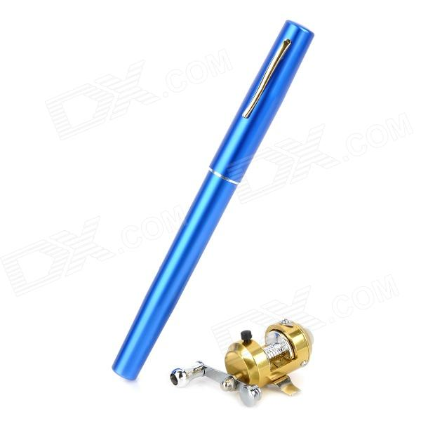 Mini Pocket Aluminum Alloy Pen Fishing Rod Pole w/ Reel - Blue - DXFishing Reels &amp; Rods<br>Color: Blue - Material: Aluminum alloy + copper - Pen fishing rod: - Pen diameter: 15mm - Extended length: 37cm - Bait-casting golden reel: - Rolling diameter: 4.5cm (approx) - Length of the body: 4.8cm (approx) - Body diameter: 2.7cm (approx) - Ideal gift for fishing enthusiast or collectors - Packing List: - 1 x Pen fishing rod - 1 x Bait-casting reel<br>
