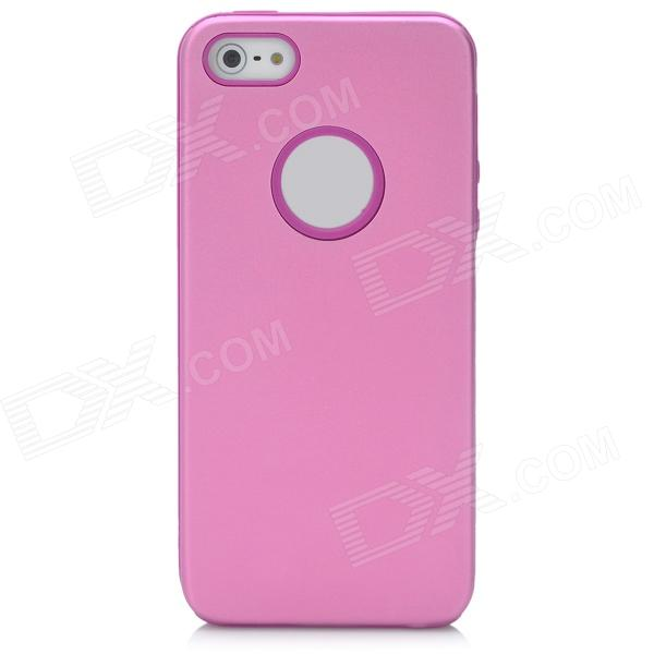 Protective Silicone Back Case w/ Aluminum Cover for Iphone 5 - Pink protective silicone soft back case cover for iphone 5 white