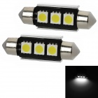 CANBUS Festoon 39mm 1.8W 45lm 3-SMD 5050 LED White Light Car Dome Lamp w/ Heat Sink (12V / 2PCS)