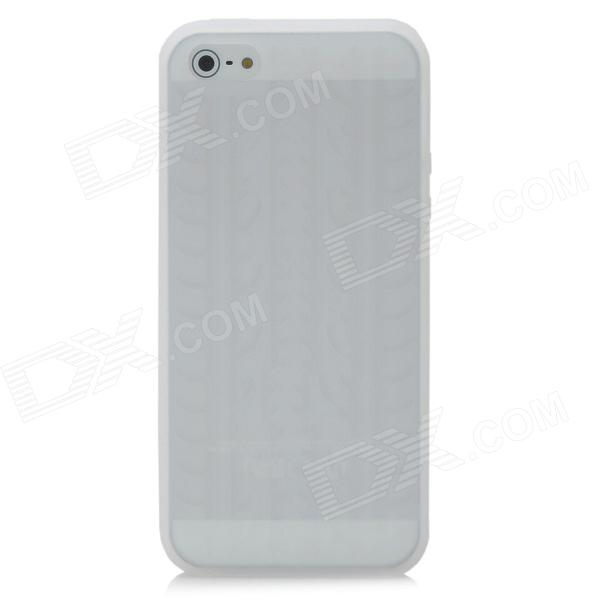 Tire Tread Pattern Protective Silicone Back Case for Iphone 5 - White