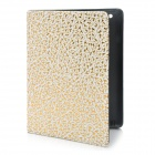 Protective Golden Spot Flower Pattern PU Cover Case for iPad 2 / The New iPad
