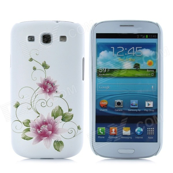 Elegant Crystal Embossed Flower Style Protective Case for Samsung Galaxy S3 i9300 - White fashionable protective bumper frame case with bowknot for samsung galaxy s3 i9300 black