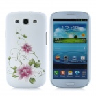 Elegant Crystal Embossed Flower Style Protective Case for Samsung Galaxy S3 i9300 - White