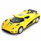 Multifunction Aluminum Alloy Pull Back Car Toy - Yellow + Black (3 x LR1130)