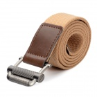 Fashion Canvas Waist Belt - Beige + Coffee