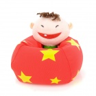 Cute Boy Figure Doll Design Foam Particles Filling Cell Phone Holder - Red