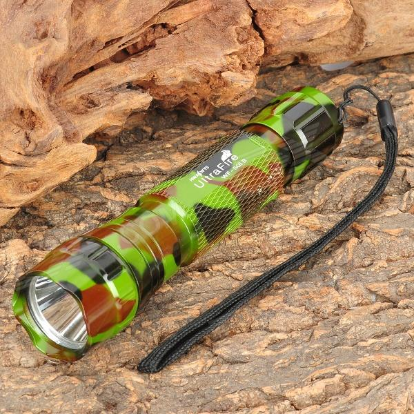 UltraFire WF-501B 800lm 3-Mode Memory White Light Flashlight - Camouflage (1 x 18650)