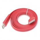 USB to 30-Pin Charging & Data Transmission Flat Cable for iPhone / iPad / iPod - Red (200cm)