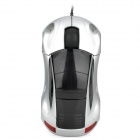 Minicute Driftx Sports Car Style 1000DPI USB Wired Optical Mouse - Silver + Black