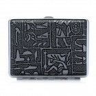 Carved Pattern Zinc Alloy + PU Leather Cigarette Case - Silver + Black