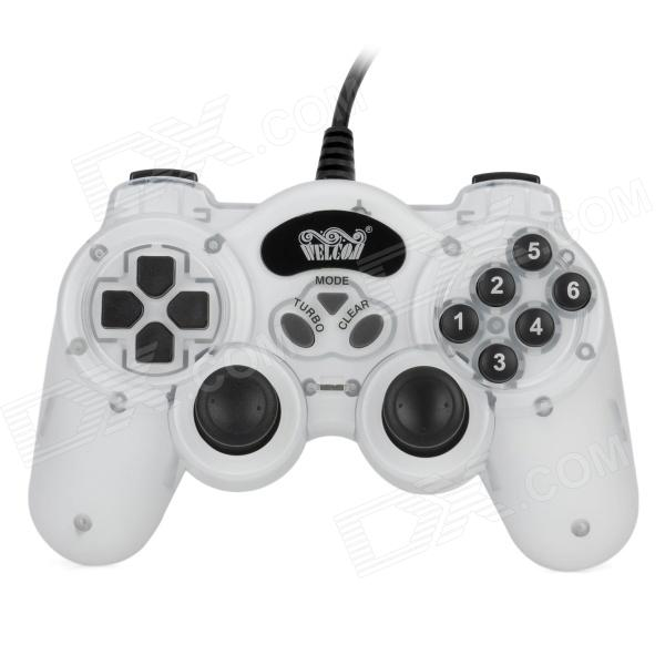 USB Dual-Shock Wired Controller for PC - White + Black