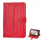 "Crocodile Pattern Protective PU Ledertasche für 7 ~ 8 ""Tablet PC - Red"