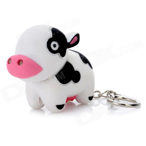 Cow Style LED Light Plastic Keychain - White + Black + Red (3 x AG10) lovely pig style white light 2 led keychain w sound effect beige deep pink 3 x ag13